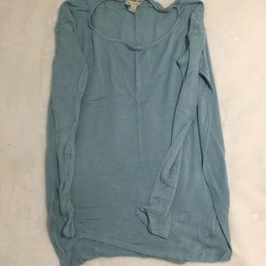 Loose flowery teal shirt
